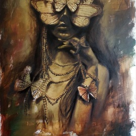 Tatiana Siedlova: 'butterfly girl', 2016 Oil Painting, Surrealism. Artist Description: women, brown, butterfly, girl, jewelry, mask...