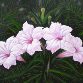 Sigit Sugiharto: 'Flower In Front of My House', 2009 Oil Painting, Floral.