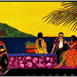 Sandi Carpenter: 'The Wall in Lahaina', 2007 Other Painting, Figurative. Artist Description:  This is a print, laminated and mounted on fiberboard, of a hand painted silk with French fabric dyes. ...