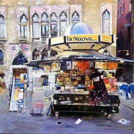 Francisco Sillue: 'el kiosco venecia', 2005 Oil Painting, Cityscape. Artist Description: Venetian KioskThe artist with this painting is representing the spirit of Venice, the city of canals, art, carnivals, unique in the world.  The Kiosks in Venice are the soul of the city.  symbol of another era, where it sells everything, magazines, newspapers and souvenirs for tourists.When painting ...