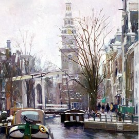 Francisco Sillue: 'luz invernal en amsterdam', 2003 Oil Painting, Cityscape. Artist Description: Winter Light in Amsterdam. View of the old drawbridge in  Staalstraat  in the background, the church and canal  Groenburgwal  seen from  Amstel  with the channel  Binnenamstel  in front. Claude Monet  1840- 1926 , He painted this canvas, from a very similar position more than 100 years ago.The artist ...