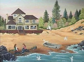 Silvana Langlois Artwork Charla junto al mar, 2003 Acrylic Painting, Landscape