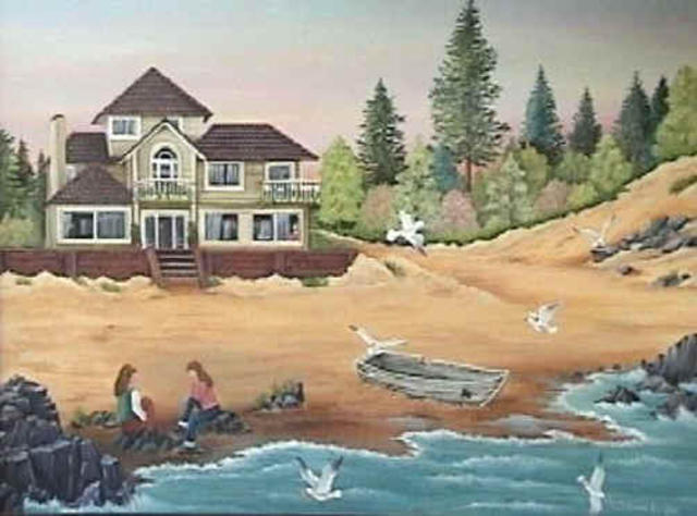 Silvana Langlois  'Charla Junto Al Mar', created in 2003, Original Painting Acrylic.