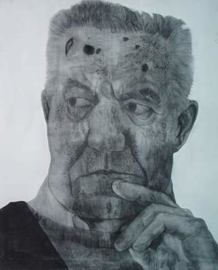 Portrait Charcoal Drawing by Srdjan Simic Title: old man, created in 2008
