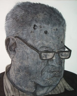 Portrait Charcoal Drawing by Srdjan Simic Title: old man with glases, created in 2008
