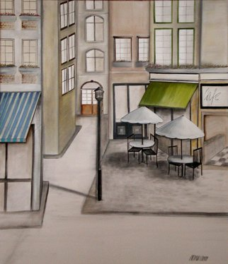 Alessa Vasco: 'IMGP2901', 2009 Acrylic Painting, Scenic.  Paris street with restaurants and cafes ...