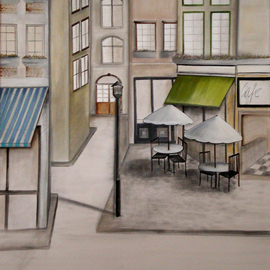 Alessa Vasco: 'IMGP2901', 2009 Acrylic Painting, Scenic. Artist Description:  Paris street with restaurants and cafes ...