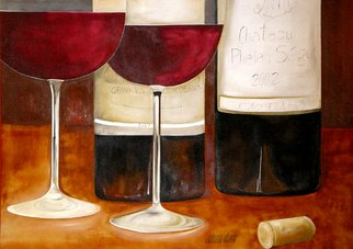Alessa Vasco: 'IMGP2905', 2009 Lithograph, Still Life.  Wine glasses, wine bottles, French wine, red wine ...