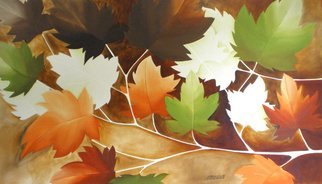Alessa Vasco: 'L000254', 2009 Acrylic Painting, Floral.  Branch of Canadian maple leaves on a stormy afternoon ...