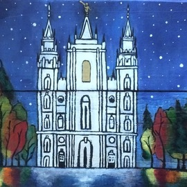 Sina Nuusila: 'lds salt lake city utah temple', 2017 Acrylic Painting, Christian. Artist Description: Hand painted picture of Lds Salt Lake City Utah temple on hand made wooden canvas. Based on a photo of the Salt Lake City Utah temple with a slight Change in season. One of a kind and completely hand crafted. ...