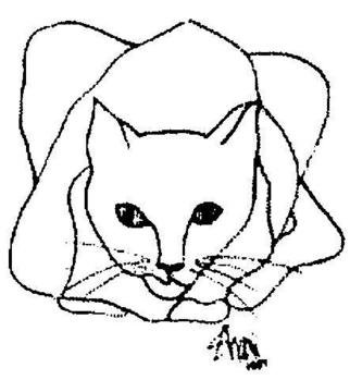 Animals Other Drawing by Jack Singer titled: Shari s cat, created in 2005