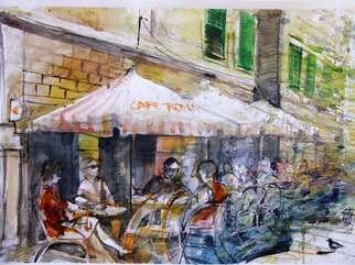 Sipos Lorand Artwork CafeRoma, 2008 Watercolor, People