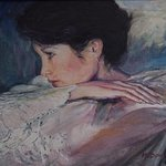 Bridal wedding oil portrait By Morris Docktor