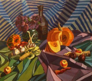 Maria Sivkova: 'Decorative still life', 2012 Tempera Painting, Still Life.