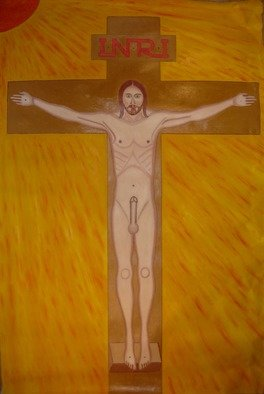 Misha Kalacev: 'morning erection jesus', 1997 Oil Painting, Erotic.
