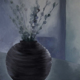 Sue Johnson: 'Changing of the Light', 2012 Oil Painting, Still Life. Artist Description:    This painting was inspired by the cast shadow made by a small pottery vase filled with pussy willows that sits on a cabinet in my dining room. The room is off a patio and the light is continually changing.         ...