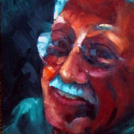 Sue Johnson: 'Errol', 2011 Oil Painting, Portrait. Artist Description:  I was messing around with wet on wet painting and fell into making small portraits of friends.  This is my partner, Errol.  He is a consistently happy kind of guy.  Lucky me.     ...