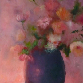 Sue Johnson: 'In the Pink', 2012 Oil Painting, Still Life. Artist Description:   Feeling pinkish one day.  Had multi colored flowers in a vase. Decidedly short on pink ones so decided to transform them.  Its called artistic license.   ...