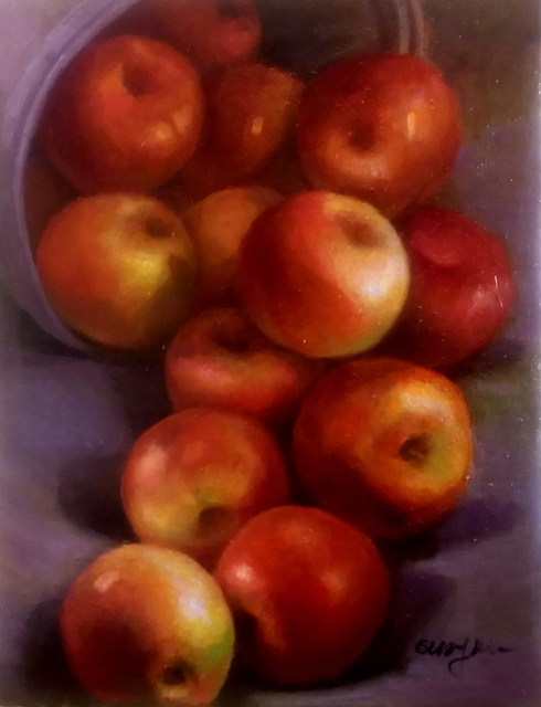 Eun Yun  'Apples', created in 2017, Original Painting Oil.