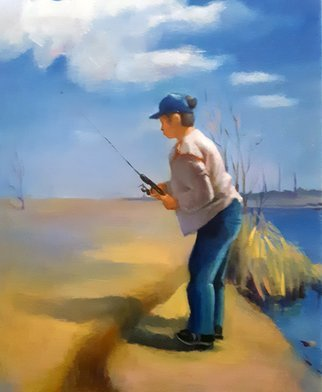 Eun Yun: 'fishing', 2019 Oil Painting, Portrait. One day of memories with my son...