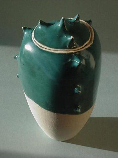 Skip Bleecker  'Turquoise Spike Jar', created in 2003, Original Sculpture Ceramic.