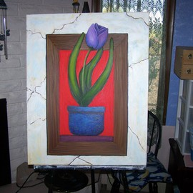 John Rollinson: 'Picture in a picture', 2010 Oil Painting, Floral.