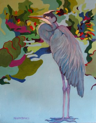 Acrylic Painting by Sharon Nelsonbianco titled: Curious Birds CHARLIE, 2014