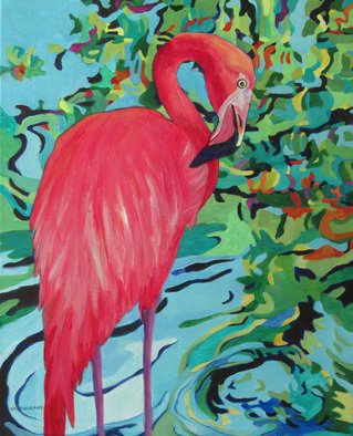 Sharon Nelsonbianco Artwork 'Curious Birds CHIQUITA', 2014. Acrylic Painting. Wildlife. Artist Description: contemporary art, acrylic painting, waterscape, birds, , nature, water, tranquility, peace, wildlife, , series format, Sharon Nelson- Bianco, southern artist, , colorful, colorist, Florida, water birds, ......