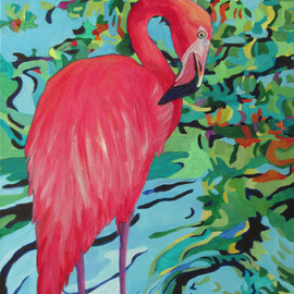 Sharon Nelsonbianco Artwork Curious Birds CHIQUITA, 2014 Acrylic Painting, Wildlife