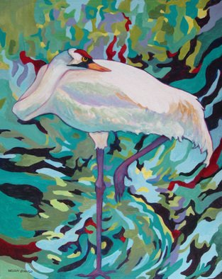Sharon Nelsonbianco Artwork 'Curious Birds CYNTHIA', 2014. Acrylic Painting. Wildlife. Artist Description: contemporary art, acrylic painting, waterscape, birds, , nature, water, tranquility, peace, wildlife, , series format, Sharon Nelson- Bianco, southern artist, , colorful, colorist, Florida, water birds, ......