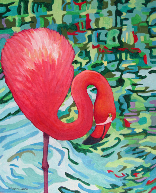 Sharon Nelsonbianco  'Curious Birds DEREK', created in 2014, Original Painting Acrylic.
