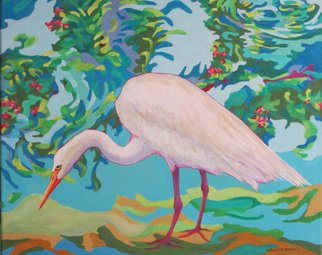 Sharon Nelsonbianco Artwork Curious Birds INGRID, 2014 Acrylic Painting, Wildlife