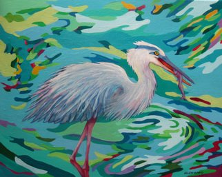 Sharon Nelsonbianco Artwork 'Curious Birds JEFFREY', 2014. Acrylic Painting. Wildlife. Artist Description: contemporary art, acrylic painting, waterscape, birds, , nature, water, tranquility, peace, wildlife, , series format, Sharon Nelson- Bianco, southern artist, , colorful, colorist, Florida, water birds, ......
