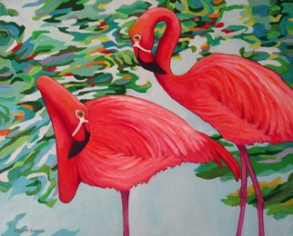 Sharon Nelsonbianco Artwork 'Curious Birds JESS and LORRAINE', 2014. Acrylic Painting. Wildlife. Artist Description: contemporary art, acrylic painting, waterscape, birds, , nature, water, tranquility, peace, wildlife, , series format, Sharon Nelson- Bianco, southern artist, , colorful, colorist, Florida, water birds, ......
