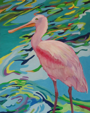 Wildlife Acrylic Painting by Sharon Nelsonbianco titled: Curious Birds MIRANDA, created in 2014