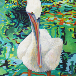 Sharon Nelsonbianco Artwork Curious Birds RALPH, 2014 Acrylic Painting, Wildlife
