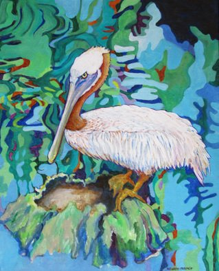 Sharon Nelsonbianco Artwork 'Curious Birds THORNTON', 2014. Acrylic Painting. Wildlife. Artist Description: contemporary art, acrylic painting, waterscape, birds, , nature, water, tranquility, peace, wildlife, , series format, Sharon Nelson- Bianco, southern artist, , colorful, colorist, Florida, water birds, ......