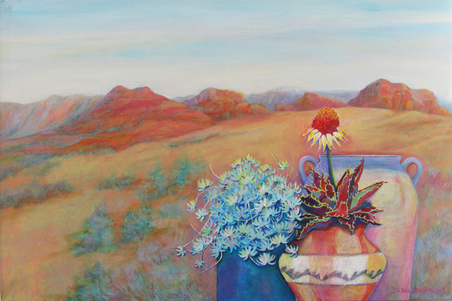 Sharon Nelsonbianco  'Pottery With A View ARIZONA1', created in 2014, Original Painting Acrylic.
