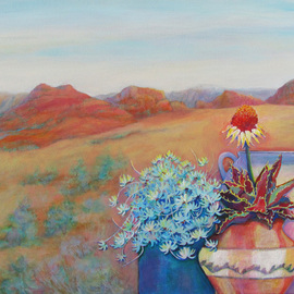 Sharon Nelsonbianco: 'Pottery With A View ARIZONA1', 2014 Acrylic Painting, Southwestern. Artist Description:                       contemporary art, acrylic painting, Southwestern art, desert scenes, peace, tranquility, pottery, colorful art, Sharon Nelson- Bianco, southern artist, expressionist, Florida artist, floral, plants, desert plants, vivid, mountains, red rocks, Western           ...