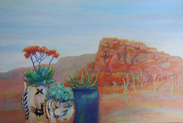 Sharon Nelsonbianco  'Pottery With A View ARIZONA 2', created in 2014, Original Painting Acrylic.