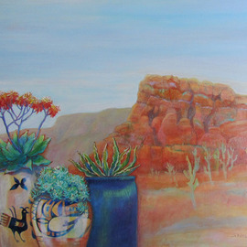 Sharon Nelsonbianco: 'Pottery With A View ARIZONA 2', 2014 Acrylic Painting, Southwestern. Artist Description:                      contemporary art, acrylic painting, Southwestern art, desert scenes, peace, tranquility, pottery, colorful art, Sharon Nelson- Bianco, southern artist, expressionist, Florida artist, floral, plants, desert plants, vivid, mountains, red rocks, Western          ...