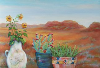 Sharon Nelsonbianco: 'Pottery With A View ARIZONA 3', 2014 Acrylic Painting, Southwestern. Artist Description:                        contemporary art, acrylic painting, Southwestern art, desert scenes, peace, tranquility, pottery, colorful art, Sharon Nelson- Bianco, southern artist, expressionist, Florida artist, floral, plants, desert plants, vivid, mountains, red rocks, Western            ...