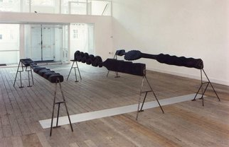 Stefan Van Der Ende: 'landscape', 1994 Wood Sculpture, Abstract. Artist Description:  elmwood / steel ...