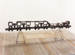 Stefan Van Der Ende: 'nomotion', 1995 Wood Sculpture, Abstract. Artist Description:  painted elmwood , steel , glass      ...