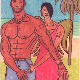 Skyler Woods: 'Exotic Love', 2011 Pencil Drawing, Mystical. Artist Description:  This is a picture of an interracial couple standing on a island. The man is standing with his wife. But as you can see, his wife is something beyond this world. I wanted this art piece to represent the power of love and intimacy. Love and intimacy can ...