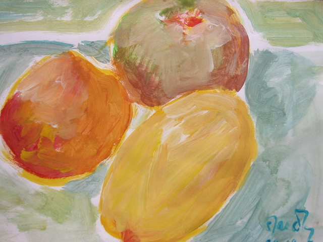 Sandra Laidley  'Three Fruits', created in 2008, Original Painting Oil.