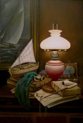 Slava Chylikin: 'bulbs and tubes', 2017 Oil Painting, Still Life. Artist Description: Memories of the SeaKeywords: lamp, pipe, model sailboat...