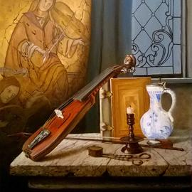 Slava Chylikin: 'violin and book', 2017 Oil Painting, Still Life. Artist Description: A modern look at old things. Keywords Violin, book, frescoes ...
