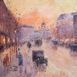 Along the Boulevard  1930 y By Slobodan Paunovic