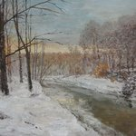 Winter motif with river By Slobodan Paunovic